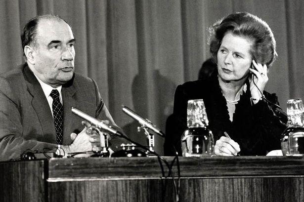 Francois Mitterand e Margaret Thatcher nel 1981.