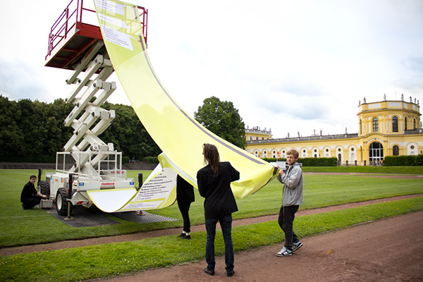 CAE, A Public Misery Message: A Temporary Monument to Global Economic Inequality Documenta (13), 2012, Kassel.